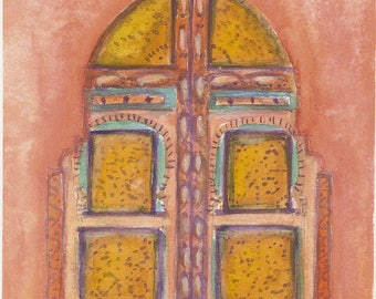 Morroco Door, Pink Stucco, Gouache Watercolor, Arabic