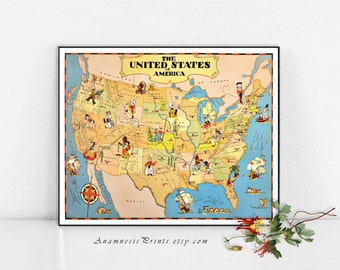 UNITED STATES Map Print - vintage USA picture map to frame - wimsical map art - illustrated by Ruth Taylor White - home and office decor