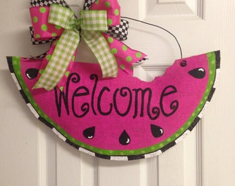 Watermelon Welcome Hand Painted Stuffed Burlap Door Hanger pink and Lime Green