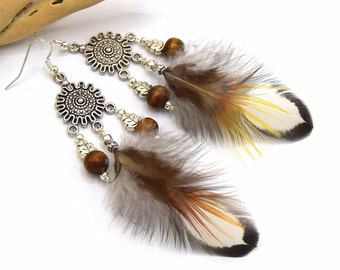 Earrings feather Kahsha, white natural feathers and orange ethnic jewelry,.