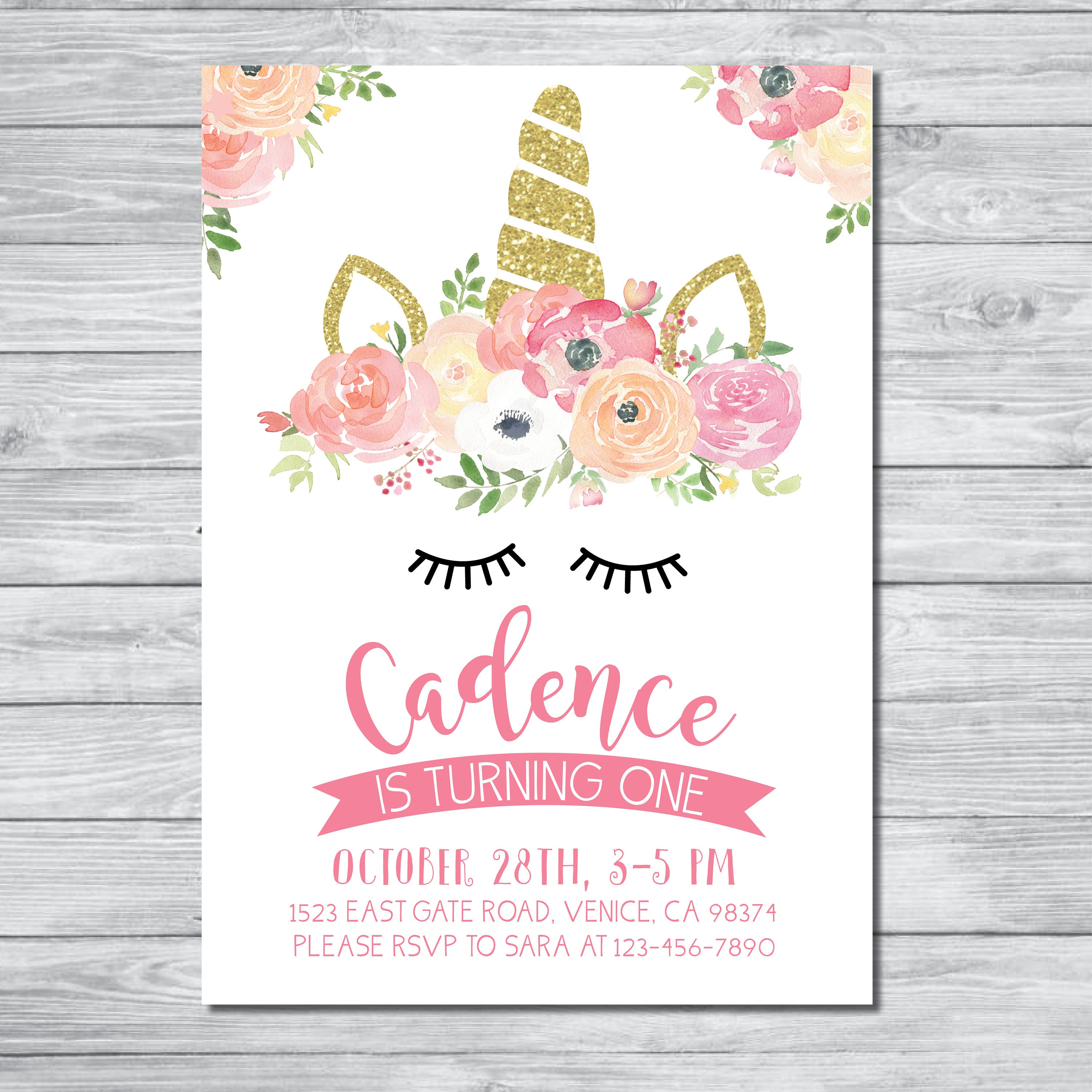 This is an image of Clean Printable Unicorn Invitations