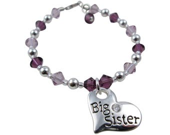 You pick the colors - Big Sister or Lil Sister Charm Bracelet - All ages and sizes and Swarovski crystals