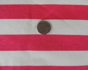 1 Yard Dark Pink and White Striped Sweatshirt Fabric