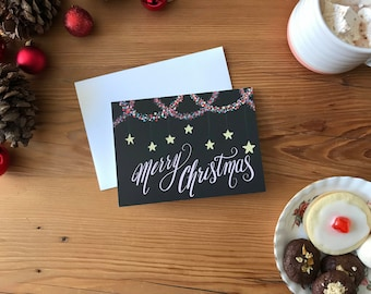 Christmas Card | Holiday Card | Christmas Lights Hand-Lettering Merry Christmas with Stars Illustration Greeting Card (Blank Inside)