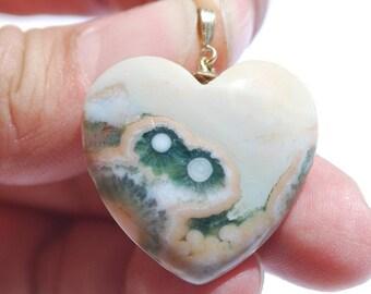 Ocean jasper heart pendant, 14 k gold filled bail, excellent polish, 36 x 30 mm