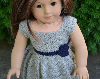 18 inch Doll Clothes, Sunrise Sunday Dress, Grey Gray Navy Blue, crochet dress, MADE TO ORDER, fits American Girl Doll