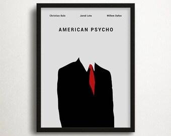 American Psycho Print, Christian Bale, Movie Print, Instant Download, Contemporary Print, Minimalist Print, Movie Art, Movie Poster