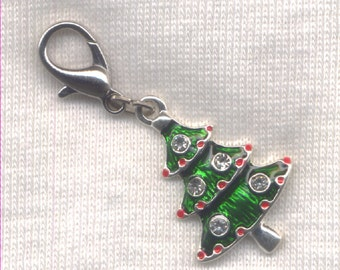 Christmas Tree Stitch Marker Clip Enameled Rhinestone Charm Single /SM247B