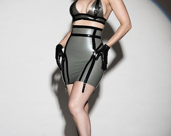 Latex clothing Sylvie high waist skirt in silver and black suspender clips lingerie