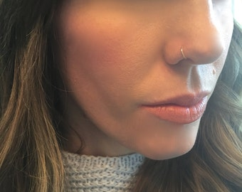 Sterling Silver or 14K Solid Gold Open Nose Ring (faux nose rings also available in a separate listing)
