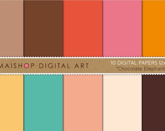 Solid Color Digital Paper 'Chocolate Elephant' Scrapbook papers for Scrapbooking, Invites, cards, Collages, Crafts, Prints, Decoupage...