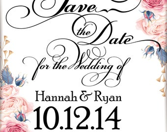 Custom 5x7  and 4x6 Save The Date Floral Invitation