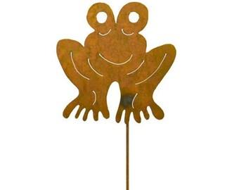 Frog Rust Metal Garden Decor Yard Art Stake Gift for Gardeners