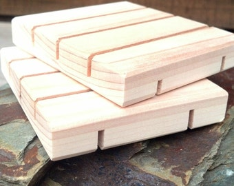 100 Vertical Slotted Cedar Natural Wood Spa Soap Dish bulk order (no discount codes please)