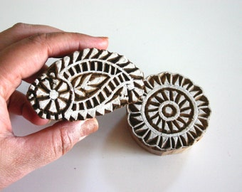 Paisley and Mandala - Hand carved wooden Stamp (2 stamps)