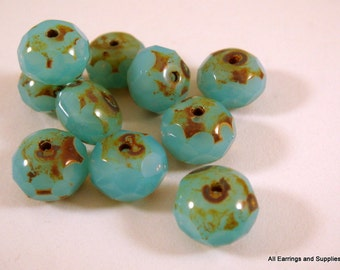 10 Czech Aqua Opalite Picasso Faceted Abacus Rondelle 8x6mm 1mm hole - 10 pc - G6041-AO10