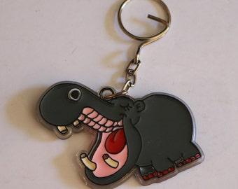 Vintage New Happy Hippopotamus Keychain