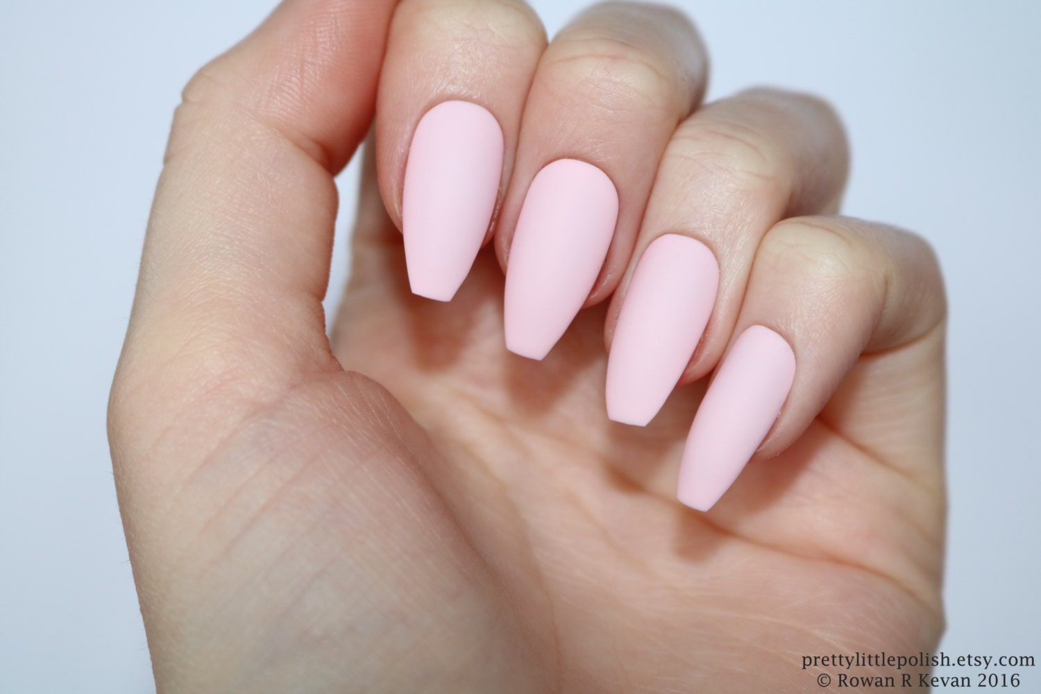 Matte pastel pink coffin nails Nail designs Nail art Nails