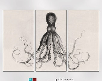 Lord Bodner Octopus Triptych Canvas Giclee - 12 x 24 Panels - Sepia