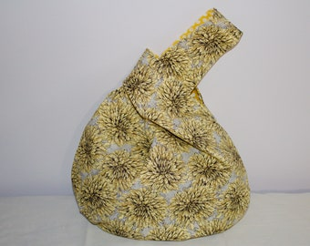 Japanese Knot Bag/Knitting Bag  yellow and gold chrysanthemun print