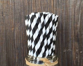 Black Paper Straws, 100 Stripe Straws, Birthday Party, Picnic, Over the Hill Birthday, Wedding Supply,  Free Shipping!