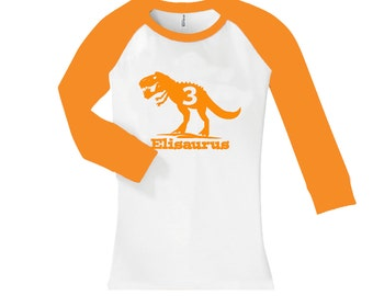 T Rex Dinosaur Name Birthday Shirt - fitted cropped/long sleeve raglan shirt - any age and name - pick your colors!
