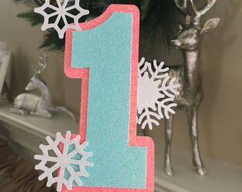 One cake topper, snowflake cake toppeer, smashcake topper, winter wonderland cake topper, Winter wonderlan, smashcake topper