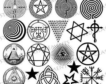 Black ceramic decals, fusible transfers, magic, symbols, star, labyrinth, triskell, ouroboros, image transfer, ceramic decals glass pendants