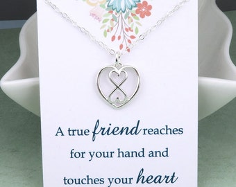 Silver Heart and Infinity Necklace - Best Friend Necklace - message card - sterling silver - best friend gift
