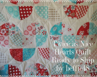 Heart Quilt, Great for Baby, Lap or Toddlers, Ready to Ship