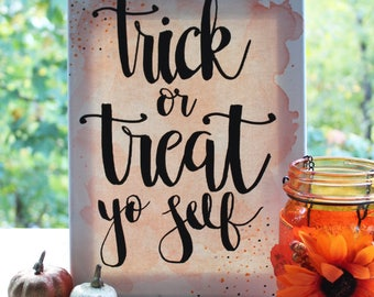 Trick Or Treat Canvas | Halloween Decoration | Halloween Decor | Trick-Or-Treat | Happy Halloween | Halloween Party | Halloween Sign