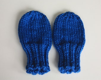 Knit Baby Mittens, Mittens for Toddlers, Royal Blue Baby Mittens, Blue Hand Knit Thumbless No-Scratch Mittens, Knit Baby Mittens