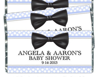 Boy Baby Shower Candy Wrappers, Bow Tie Candy Wrapper - fit over 1.55 oz chocolate bars - baby boy bow tie candy wrapper