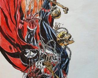 Spawn falling print of original ink and colored pencils.
