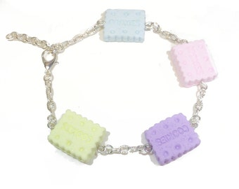 Miniature Sweet Pastel Square Biscuit Cookie Handmade Polymer Clay Charm Bracelet. Sweet Lolita Fashion, Fairy Kei, Kawaii, Cute Jewellery