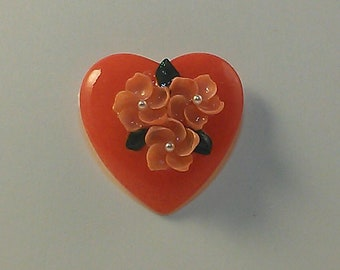 Red Heart with Orange Flowers