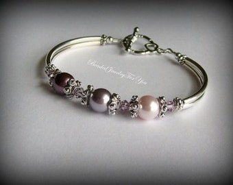Gift Set Of EIGHT: Pink And Amethyst Pearl Bracelet, Pearl Wedding Bracelet, Amethyst Bridal Jewelry, Wedding Party Gift, Jewelry Bridesmaid