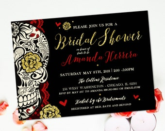 Sugar Skull Bridal Shower Invitation Offbeat Wedding Day of the Dead Dia de los Muertos DIY Printable Skull Wedding Wine Tasting Invite