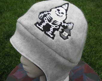 Skeleton Gnome with Glow in the Dark Lantern on Gray and Black Fleece Ear Flap Hat