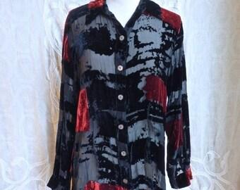 SUMMER SOLSTICE SALE Black and Red Burnout Silk Velvet Button Down Shirt
