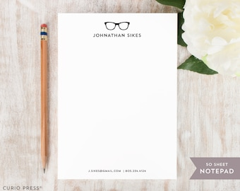 Personalized Notepad - GLASSES - Stationery / Stationary Notepad - hipster logo notes pad