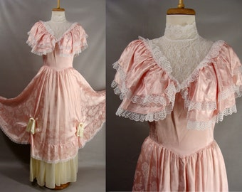 LITTLE Bo PEEP Costume. vintage 70s Gunne Sax Dress. Southern Belle Gown. Pink Ruffled Satin. OR Customizable Zombie Costume. Size xs S 2 4
