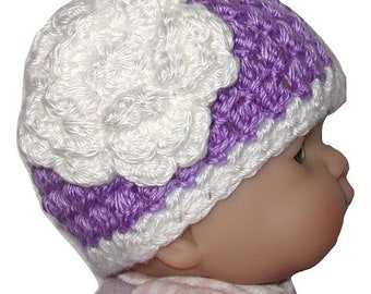 Lavender Baby Girl Hat, Dark Lavender Baby Hat, Light Purple Baby Hat With White Flower, Pale Purple Baby Girls Hat, Lavender And White Hat