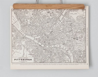 Vintage Pittsburgh Map | 1930s Pittsburgh, Pennsylvania Wall Art | Antique city map print, black and white, circa 1936