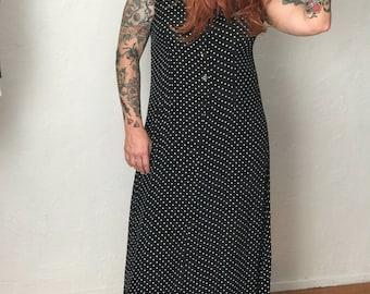 Vintage Black and White Polka Dot Maxi Dress
