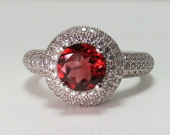 Natural Garnet Sterling Silver Ring 1.23 ct Size 7