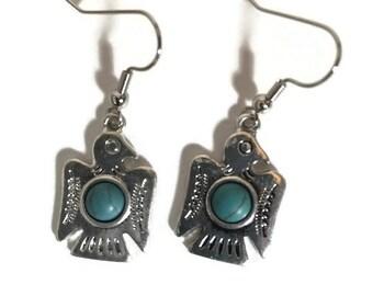 Tribal turquoise bird dangle earrings