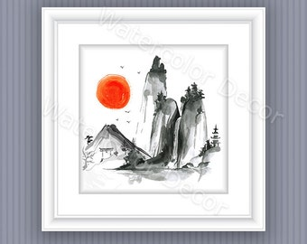 Mountain Landscape Watercolor Art Print Wall Decor #2