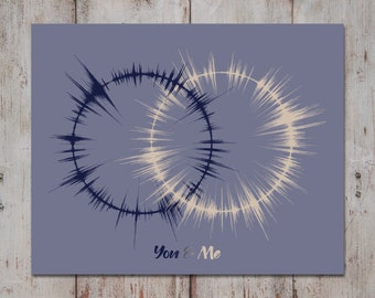 Wedding Vows Print, Interlocking Rings, Vow Renewal Gift, Paper Anniversary Gifts for Him, Wedding Vow Art, Gift for Couples, Sound Wave Art