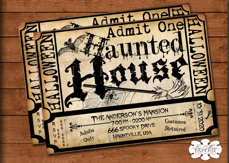 halloween haunted house ticket invitation handmade digital. Black Bedroom Furniture Sets. Home Design Ideas